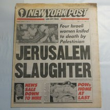 New York Post March 11 1991 Jerusalem Slaughter Israeli killed Palestine... - $39.99