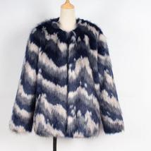 Women's Multicolor Luxury Designer Brand Fashion Faux Fur Coat image 4
