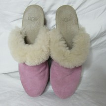 Women's Ugg Clog Mule Shoes Pink Suede Fur Lined Size 5 - $23.99