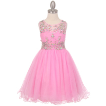 Pink Unique Design AB Stone Bodice Open Back Tulle Wired Skirt Flower Girl Dress - $90.95+