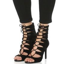 JOIE Anja Sexy Black Lace Up Bootie Stiletto Sandals sz 37 - ₹4,112.74 INR