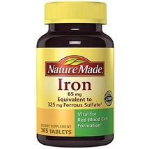 Nature Made Iron 65 mg (365 Count, from Ferrous Sulfate) 1 Bottle, 365 Tablets - $19.31