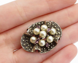 925 Sterling Silver - Vintage Pearls Amethyst & Marcasite Brooch Pin - B... - $45.82