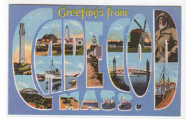 Greetings from Cape Cod Massachusetts Large Letter Linen postcard - $6.93