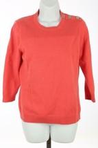 Ralph Lauren Pullover Damen Sz GROSS L Korallenrot Silber Schulterknöpfe B99 - $36.30