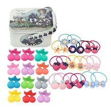 Random of Children Hairpins Lovely Hair circle Suit and Jewelry Box,Cherry Clips