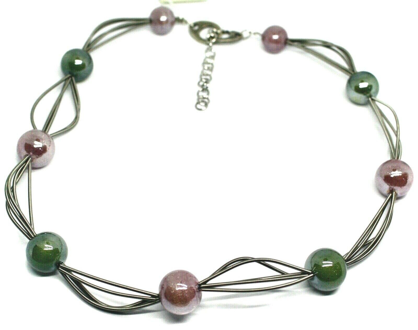"""MULTI WIRES NECKLACE GREEN PURPLE BIG MURANO GLASS SPHERES, 50cm 20"""" ITALY MADE"""