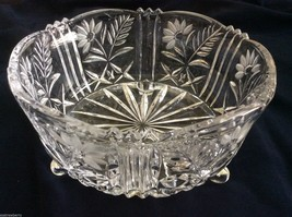 "VTG Gorgeous Footed Clear Crystal glass  bowl  Floral pattern  7.75"" X 4... - $67.32"