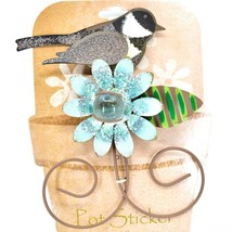 Chickadee w Blue Flower Metal Garden Pot Sticker Decoration image 2