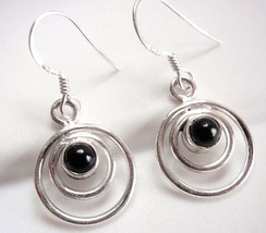 Very Small Black Onyx Earrings in Double Hoops 925 Sterling Silver Dangle New - $15.83