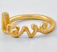 Love Ring Heart Mom Women Matte Gold Scripted Text Gift Designer Celebri... - $12.99