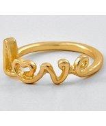 Love Ring Heart Mom Women Matte Gold Scripted Text Gift Designer Celebrity Style - $10.99