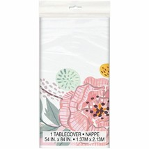 Painted Floral 1 Ct Tablecover Plastic 54 x 84 Wedding Bridal Shower - $6.59