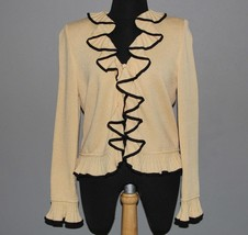 ST. JOHN Butter Yellow & Black Ruffle Front Collar Sleeves Button Sweate... - $159.99