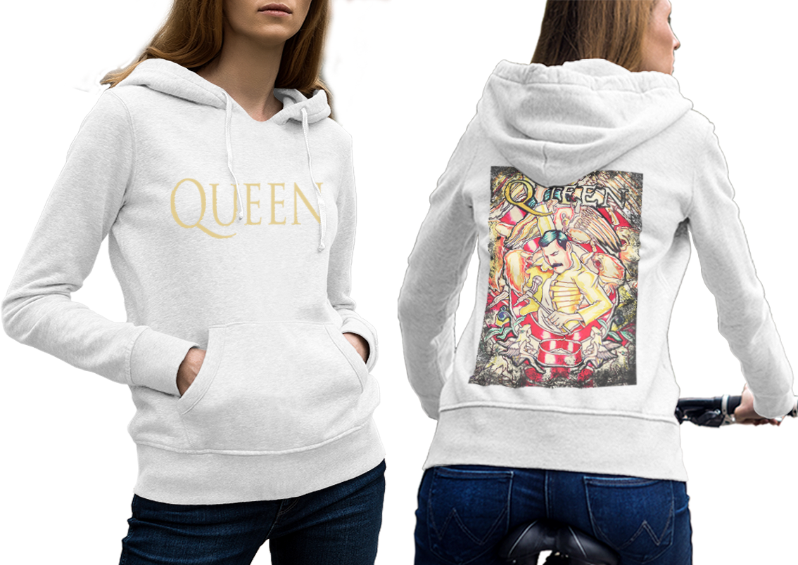 Queen band freddie mercury  hoodie classic women white