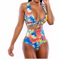 Womens Sexy 2pcTie Swimwear Low Front Colors Elastic Waist Bottom M Fit ... - $10.95