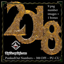 PunkedOut Steampunk Digital Numbers CU - $2.73