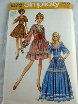 Vtg Simplicity 8875 Pattern Miss Size 16 Bust 38 Dress Country Octoberfe... - $14.84