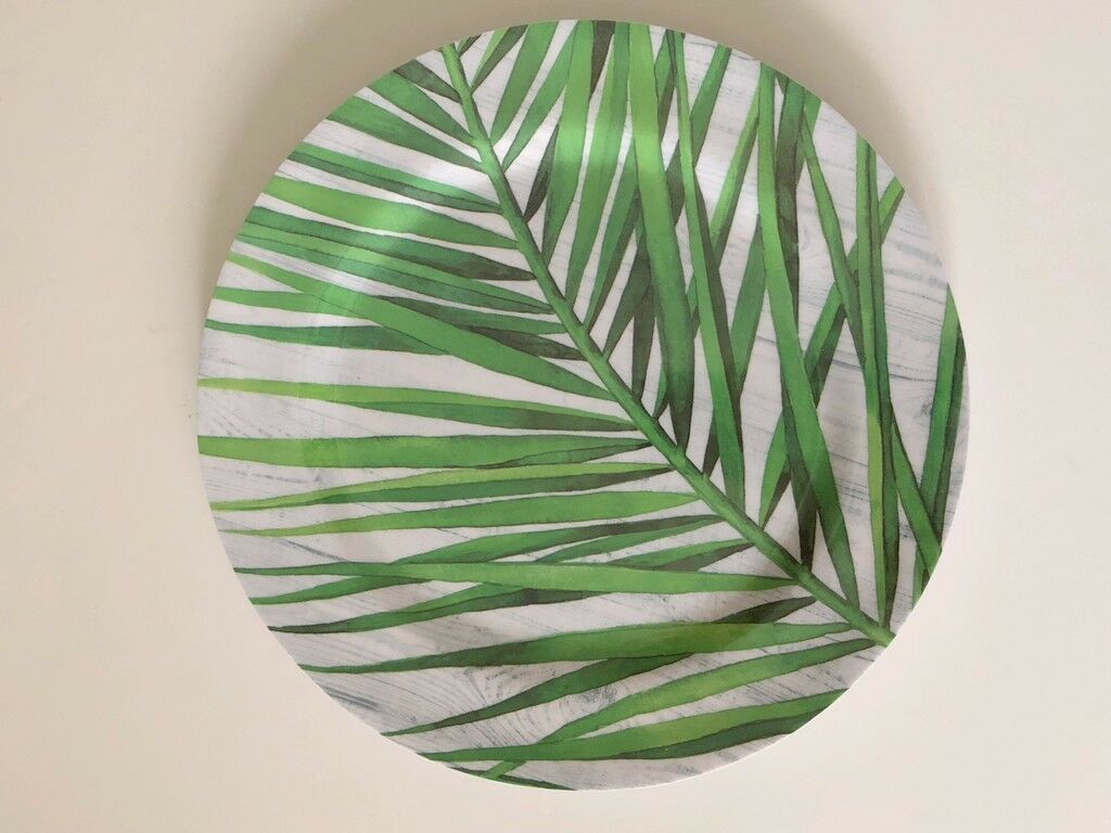 Palm Leaves Melamine Plates Set of 4 Nautical Summer Pool Beach House 10.5""