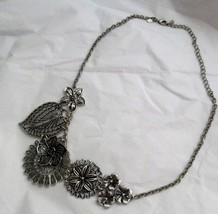 Premiere Designs Botanical flower filigree leaf necklace antique silver ... - $29.69