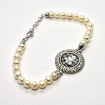 925 silver bangle with pearls freshwater Cameo Cameo Cubic Zirconium image 3