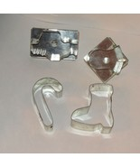 CHRISTMAS COOKIE CUTTERS METAL with HANDLE 4 SANTA BELL BOOT CANDY CANE ... - $7.99
