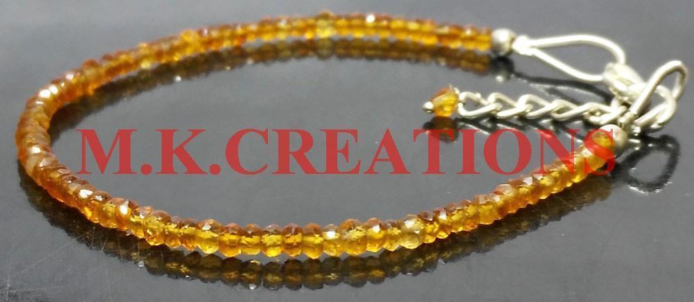 "Primary image for Natural Dark Citrine 3-4mm Beads 6.5"" Long 925 Silver Beaded Chain Bracelet"