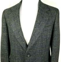 Calvin Klein Mens Sport Coat Size 38 Regular Gray Black Tweed Plaid Wool - $45.49
