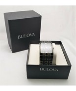 BULOVA MEN'S 30MM BLACK GOLD DIAMOND STAINLESS STEEL 98D004 WITH NEW BAT... - $98.99
