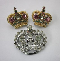 KING QUEEN ROYALTY CROWN PIN PINS SET of 3 RHINESTONES VINTAGE COLORFUL - $9.49