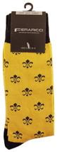 Fleur Di Lis Socks Mens Novelty Crew Casual Cotton Blend Mardi Gras Gold... - $12.95