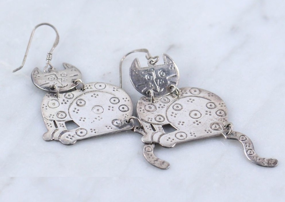 Primary image for KITTY CAT Dangling EARRINGS in Sterling Silver -Articulated - 2 1/2 inches long