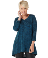 Dennis Basso Large Jacquard Knit Tunic with Ruched Sleeve Detail Arctic ... - $29.99
