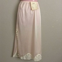 Vanity Fair Half Slip Womens Small Pink Nylon Ivory Lace Vintage NEW - $24.74