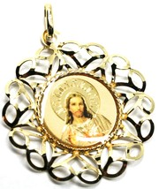 18K YELLOW GOLD 31mm MEDAL PENDANT, SACRED HEART OF JESUS, FLOWER FRAME ENAMEL image 2