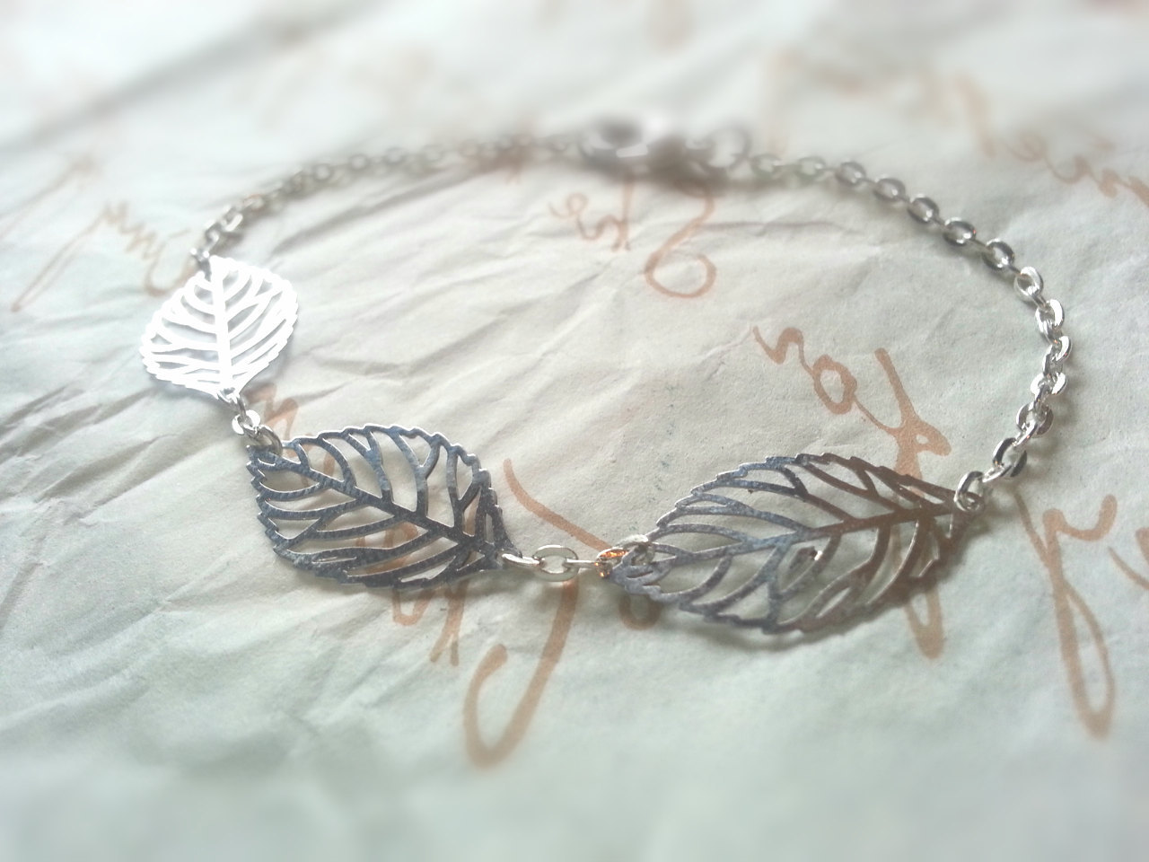 Tiny Silver Leaves Bracelet Tiny Silver Skeleton Leaves Bracelet Silver Filigree
