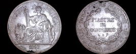 1897-A French Indo-China 1 Piastre World Silver Coin - Vietnam - $199.99