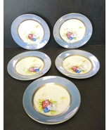 Five Pre WWII Noritake Hand Painted Dessert Plates - Three Rose Buds - $18.99