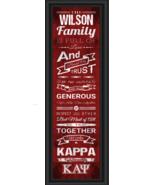 Personalized Kappa Alpha Theta Sorority - 24 x 8 Family Cheer Framed Print - $39.95