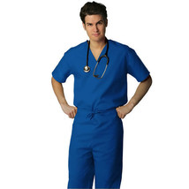 Royal Blue V Neck Top Drawstring Pants SM Unisex Medical Uniforms 2 Pc S... - $35.25