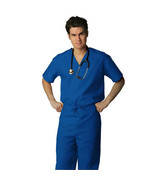 Royal Blue V Neck Top Drawstring Pants SM Unisex Medical Uniforms 2 Pc S... - $35.25