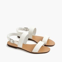 J. Crew Size 8 M Jules Tumbled Leather White Sandals Women's - $49.08 CAD