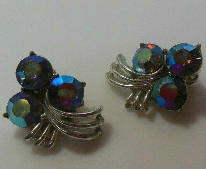 Vintage Signed Kramer Silver-tone AB Rhinestone Clip-on Earrings