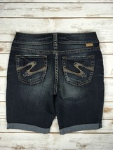 Silver J EAN S Shorts Buckle Mid Rise Suki Cuffed Denim Jean Stretch Short 30 New - $39.97