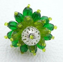 Vintage Silver Tone Green Bead Beaded Glass Adjustable Ring Size 6 - $19.80