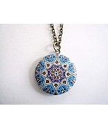"""Round Enamel Painted Locket Pendant Necklace On 30"""" Chain New - $17.77"""