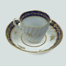 Antique 18th Century Worcester School Fluted Porcelain Cup & Saucer Coba... - $51.43