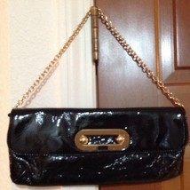 Beautiful Black Patent Leather Hobo International Clutch / Baguette With Chain - $28.86