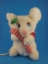 "Rare Vintage Russ Berrie White Mouse Plush Candy cane 7"" - $16.82"