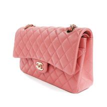 Chanel Shiny Pink Quilted Caviar Medium Classic Double Flap Bag A01112Y83470 - $6,999.00